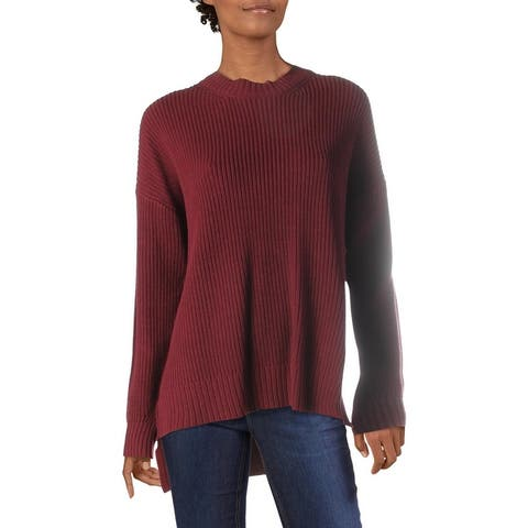 BCBG Max Azria Women's Ribbed Knit Oversized Crew Neck Pullover Sweater