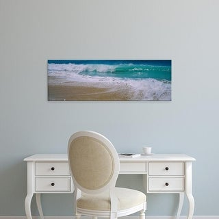 Easy Art Prints Panoramic Images's 'Waves crashing on the beach, Kauai, Hawaii, USA' Premium Canvas Art