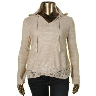 Hooked Up by IOT Womens Juniors Pointelle V-Neck Sweater