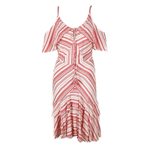 Sangria Red White Striped Cold-Shoulder Ruffled A-Line Dress 12