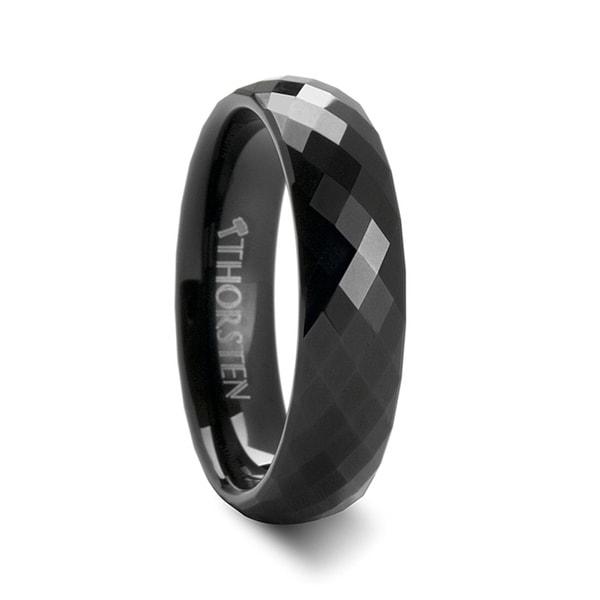 THORSTEN - AURORA 288 Diamond Faceted Black Tungsten Band - 6mm