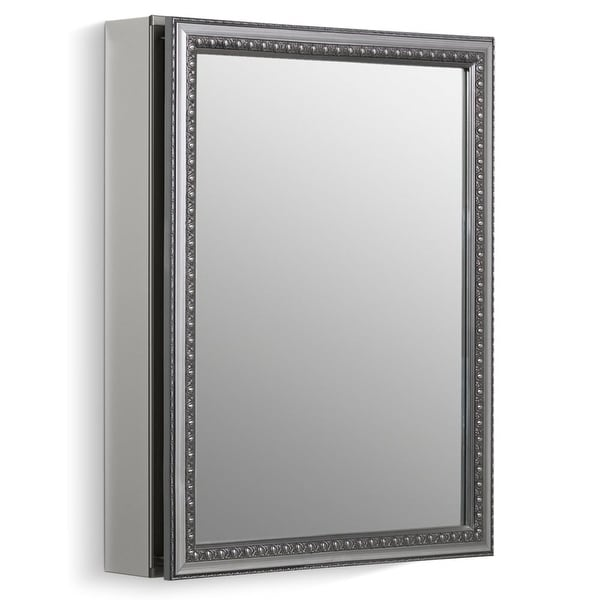 "Kohler K-CB-CLW2026SS 20"" x 26"" Single Door Reversible Hinge Framed Mirrored Medicine Cabinet with Silver Finish"