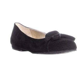 Tahari Harlow Front Bow Loafer Flats, Black