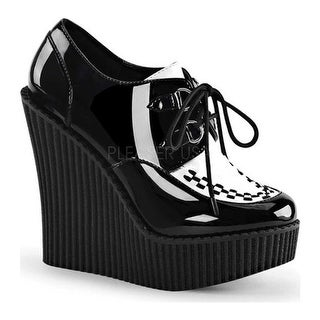 Demonia Women's Creeper 302 Wedge Oxford Black/White Patent