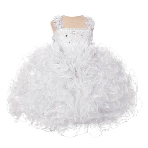 RainKids Baby Girls White Beaded Cascade Ruffle Organza Pageant Dress