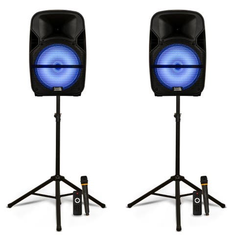 """Acoustic Audio Rechargeable Portable 12"""" Bluetooth LED Speakers Mics and Stands"""