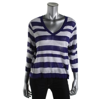 Kensie Womens Knit Striped Pullover Sweater - L