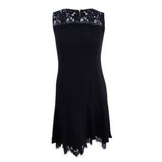 Calvin Klein Women's Petite Lace-Trim A-Line Dress - Black