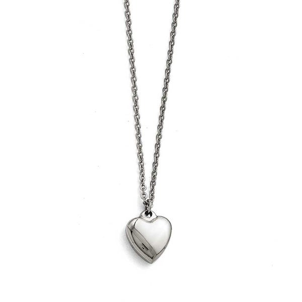 Chisel Stainless Steel Polished Heart with 1.50in. ext. Necklace - 16.25 in