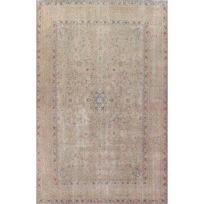 """Distressed Kashan Persian Home Decor Area Rug Hand-knotted Wool Carpet - 9'6"""" x 12'7"""""""