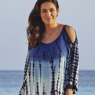 Blue Ombre Tie-Dye Cutout Cover Up - Plus Sizes Too