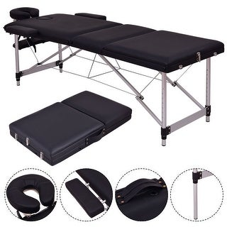 Costway Black Portable Massage Table Aluminum Facial SPA Bed Tattoo w/Free Carry Case
