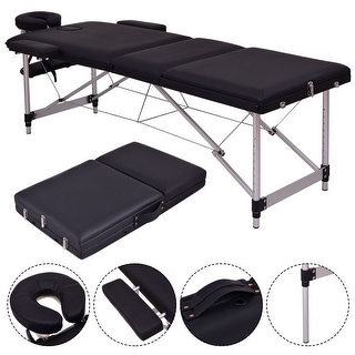 costway black portable massage table aluminum facial spa bed tattoo wfree carry case