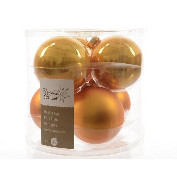 "6ct Luxury Lodge Glass Golden Orange 2-Finish Christmas Ball Ornaments 3.25"" (80mm)"