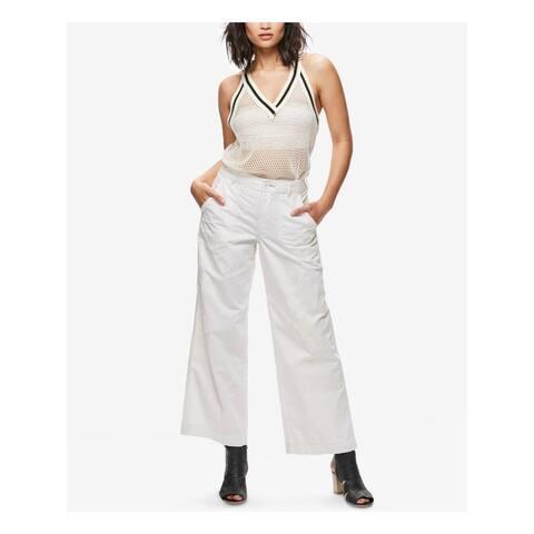 FREE PEOPLE Womens Ivory Paint Splatter Wide Leg Jeans Size 4