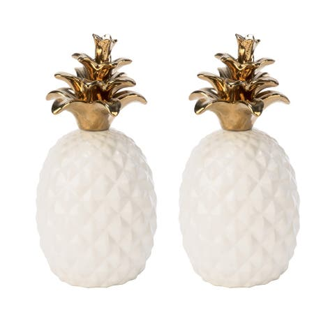 White Ceramic Pineapple with Gold Accents, Set of 2