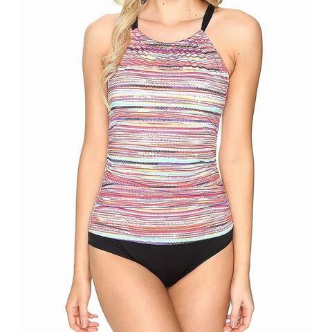 Jantzen Pink Black Women's Size 16 One-Piece Striped Swimwear