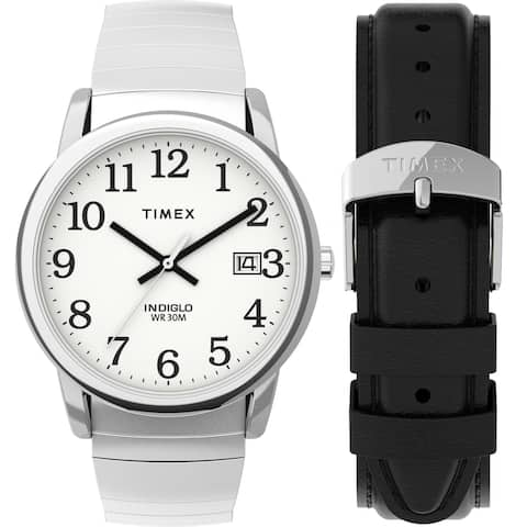 Timex Men's Easy Reader 35mm Watch Box Set - Silver-Tone/White/Black Expansion & Leather Strap - One Size