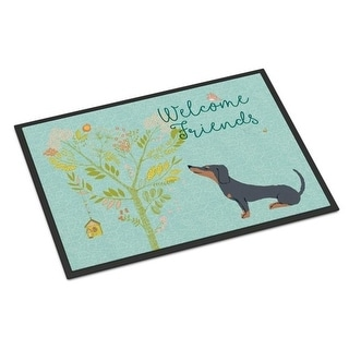 Carolines Treasures BB7630MAT Welcome Friends Black Tan Dachshund Indoor or Outdoor Mat 18 x 27 in.