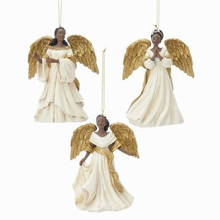 "Link to Pack of 6 Ivory and Gold Regal African American Angels Christmas Ornaments 4.5"" Similar Items in Christmas Decorations"