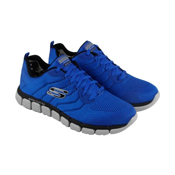 Skechers Flex 2.0 Milwee Mens Blue Textile Athletic Lace Up Training Shoes