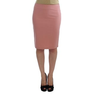 EXTE Pink Wool Stretch Straight Pencil Skirt - it40-s