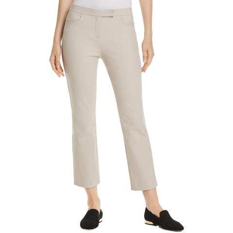 Theory Womens Cropped Pants Mid Rise Straight Leg - Light Putty