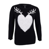 Style & Co. Women's Plus Size Reindeer Holiday Sweater - deep black combo