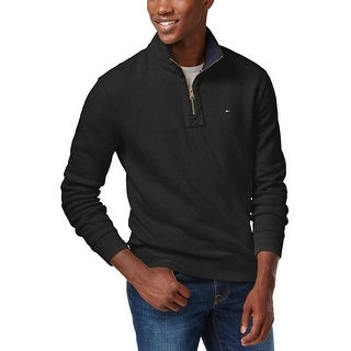 Tommy Hilfiger Quarter Zip Mock Neck Sweater Black Solid Large L