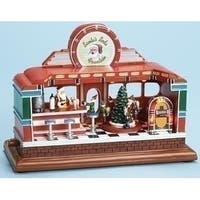 "11"" Animated, Musical and LED Lighted Santa's Soda Fountain Classic Diner Christmas Decoration - green"