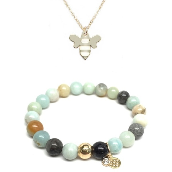 "Green Amazonite 7"" Bracelet & Bee Gold Charm Necklace Set"