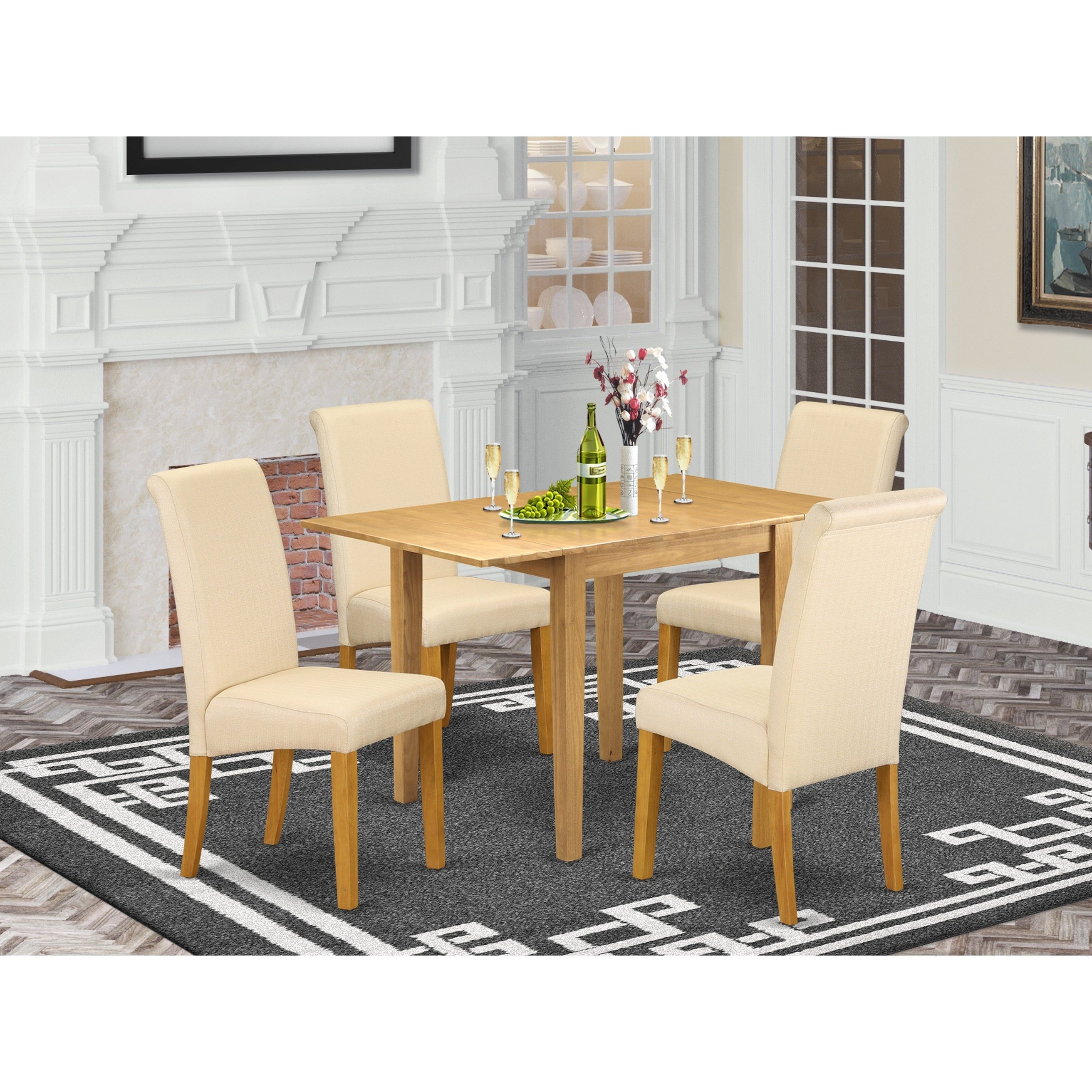 Rectangle Breakfast Table And Wood Dining Room Chairs With Light Beige Color Linen Fabric Seat Number Of Chairs Option Overstock 32448428