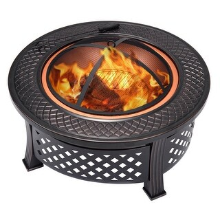 Costway 32'' Round Metal Firepit Patio Garden Stove Fire Pit Outdoor Brazier Black