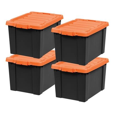 IRIS 19 Gal. Store-It-All Storage Tote in Black (4-Pack)