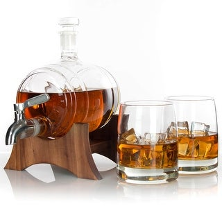 Atterstone Barrel Whiskey Decanter Full set with Whiskey Glasses, Custom Stand, and Whiskey Stone Set