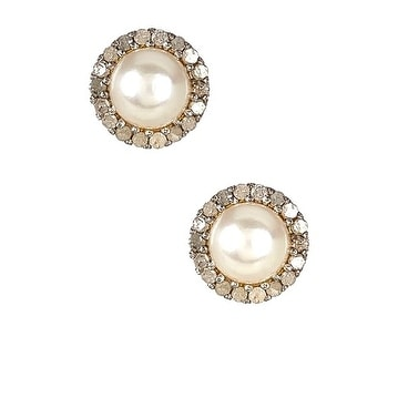 Genuine Diamond and Fresh water pearl stud earrings in gold over sterling silver