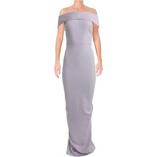 Nicole Bakti Womens Evening Dress Off-The-Shoulder Cascade Ruffle - 8