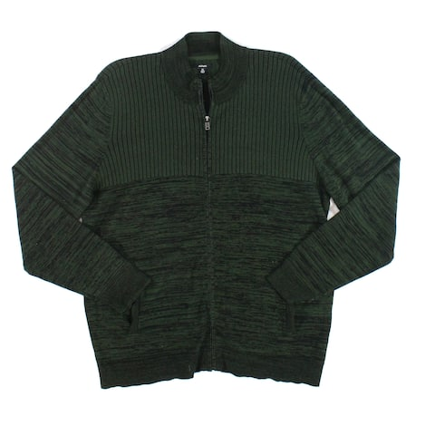 Alfani Mens Sweater Nordic Forest Green Size XL Ribbed Full Zip