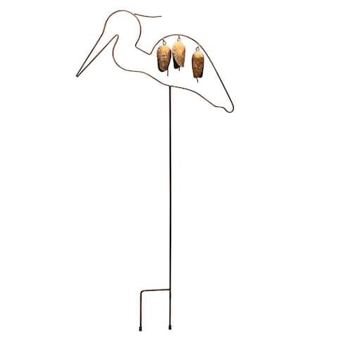 Ancient Graffiti Crane Garden Stake - Steel Wind Bell Bird Yard Art - Gold - 35 Inch x 14 Inch x 1 Inch