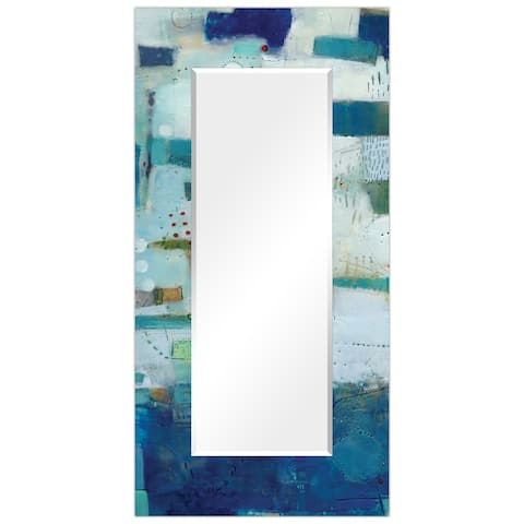 """Porch & Den Frameless Beveled Wall Mirror with Blue Printed Edges - 36"""" x 72"""""""