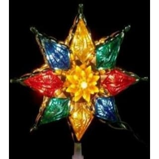 """8"""" Lighted Multi-Color Crystal 8-Point Star Christmas Tree Topper - Clear Lights"""