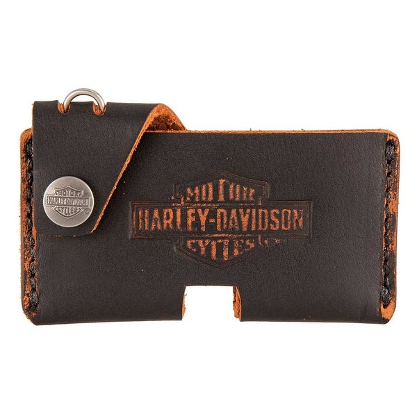 "Harley-Davidson Mens Road Bun Front Pocket Leather Wallet w/ Clip HDMWA11330-BLK - 4.5"" x 2.25"""