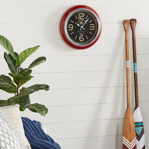 Red Vintage Metal Wall Clock 17 x 17 - 17 x 3 x 17Round