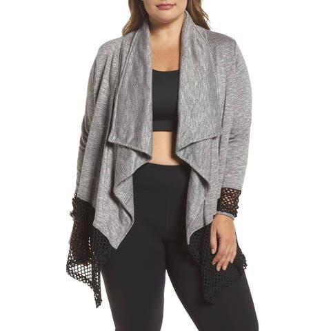 Marika Womens Sweater Gray Black Size 1X Plus Cardigan Open Front Drape