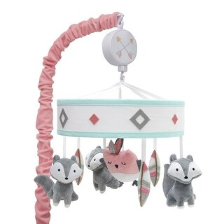 Lambs & Ivy Little Spirit Musical Baby Crib Mobile - White, Coral, Animals, Modern, Owl, Fox, Girl