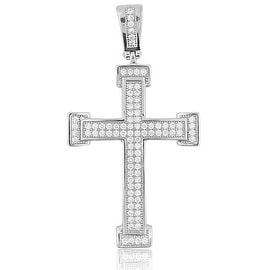 Sterling Silver Cross 43mm Tall Pave Set CZ Mens Cross Charm