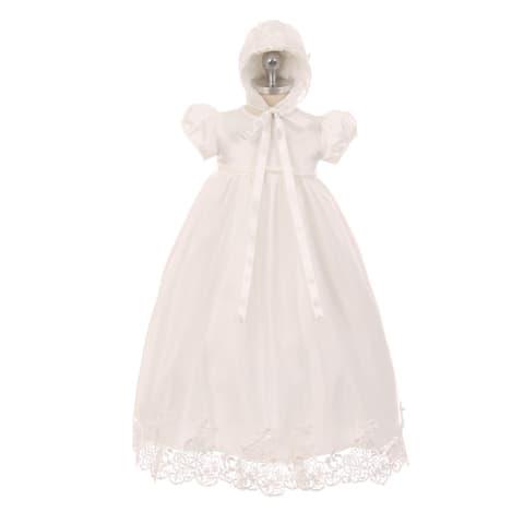 a0d850a36 Rain Kids Baby Girls Ivory Lace Satin Tulle Overlay Bonnet Baptism Dress