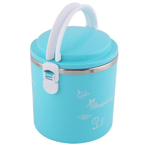 Office Tree Pattern Cylinder Food Storage Holder Lunch Box Blue 1600ml