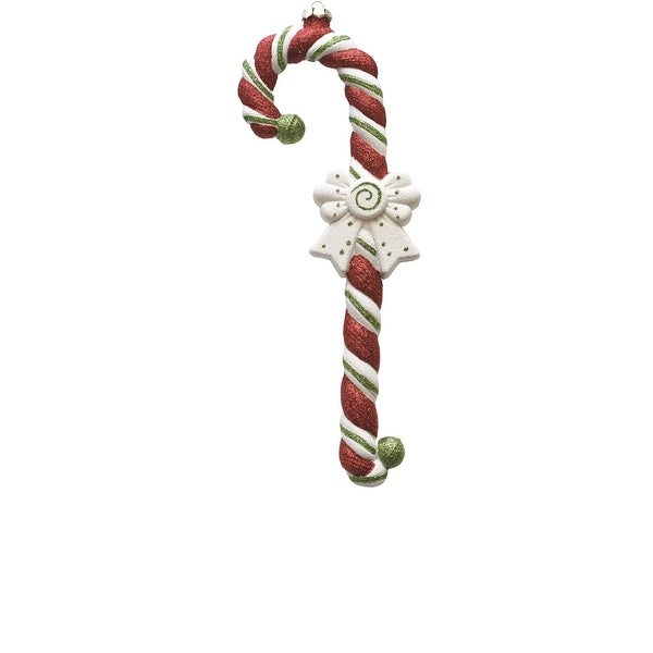 "15"" Merry & Bright Large Red, White and Green Glittered Shatterproof Candy Cane Christmas Ornament - RED"