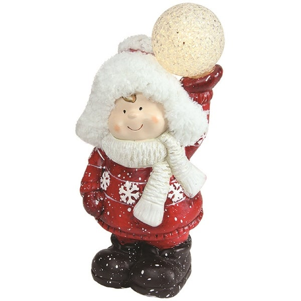 "10"" Christmas Morning LED Lighted Terracotta Boy Holding Snowball Decorative Christmas Figure"
